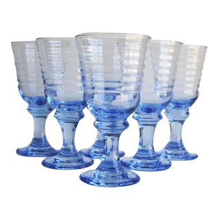 Vintage Blue Glasses - Set of 6