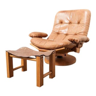 Gerard van den Berg Attributed Fishbone Lounge Chair with Ottoman