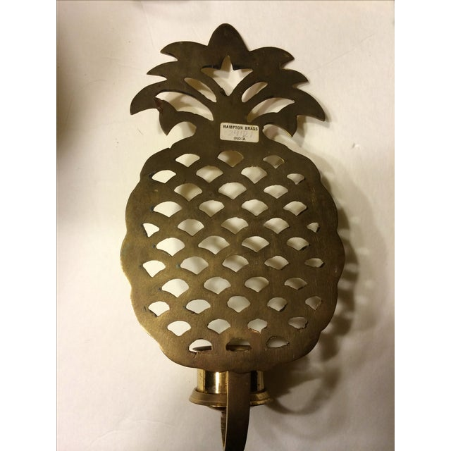 Brass Pineapple Wall Sconce Candleholders - Image 4 of 9