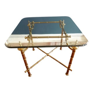 Brass & Glass Chinoiserie Style Side Table