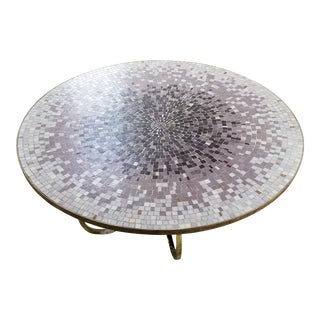 Large Mid Century Glass Mosaic Coffee Table on Brass Ring Base