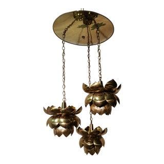 Feldman Lighting Company Brass Lotus Chandelier