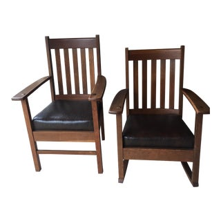 A Pair of 1912 Mission Chairs by Harden