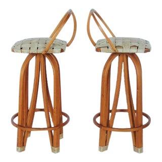 Stylish Modern Bentwood & Leather Bar Stools