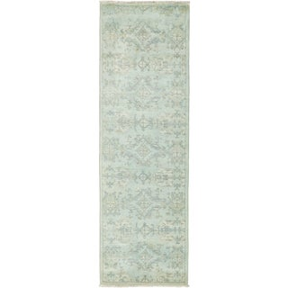 "Vibrance, Hand Knotted Sky Blue Wool Runner Rug - 3' 2"" X 10' 0"""