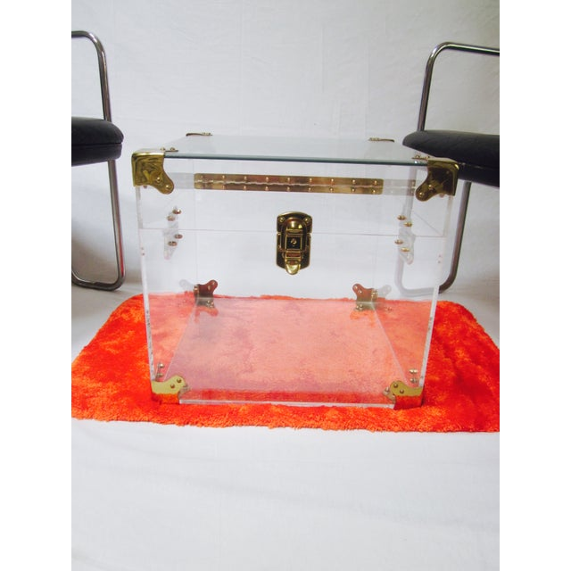 Lucite & Brass Trunk Coffee Table