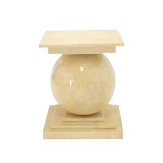 Large Lacquered Parchment Pedestal Table Base