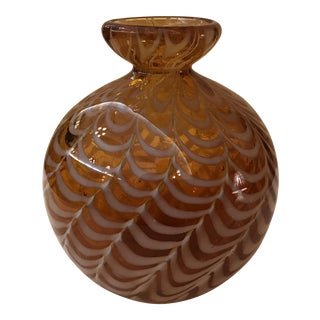 Amber & White Wave Design Vase