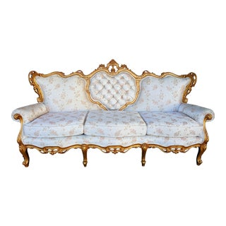 Vintage Hollywood Regency Ivory & Gold Sofa