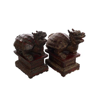 Chinese 19th century Turtles - Carved Wood ,Red Lacquer & gold Gilt -a Pair