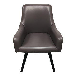 Gray Leather Swivel Side Chair