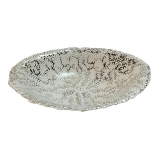 White & Silver Metallic Bowl