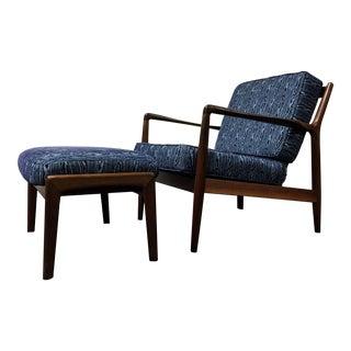 Folke Ohlsson Dux Sweden Mid Century Danish Modern Teak Lounge Chair & Ottoman