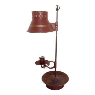 Vintage Red Toleware Lamp