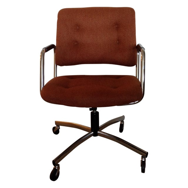 Vintage Orange Tweed Steelcase Office Chair - Image 1 of 9