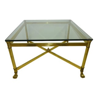 Vintage Square Brass & Glass Claw Foot Table