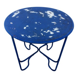 Art Deco Distressed Blue Metal Table