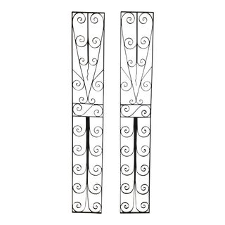 Large Architectural Iron Wall Hangings - a Pair
