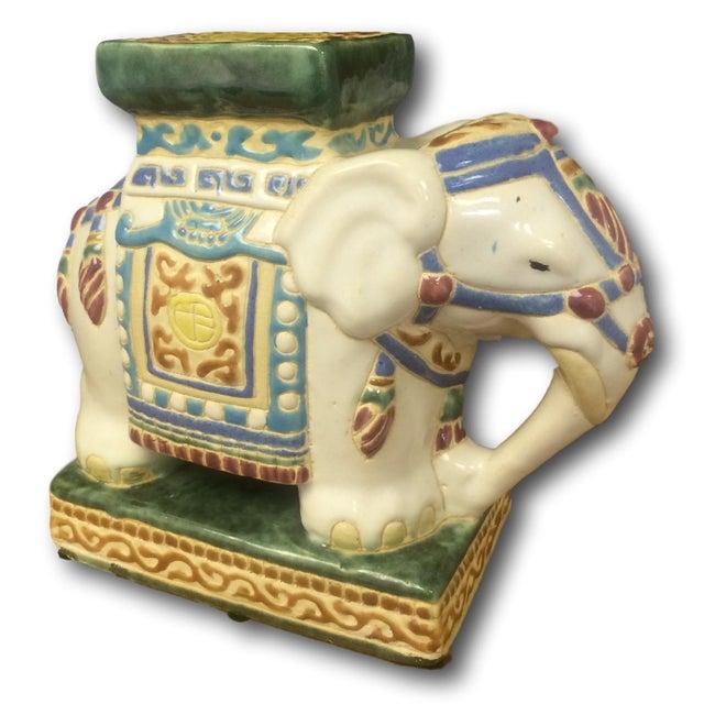 Vintage Chinoiserie Mini Elephant Pottery Stool - Image 4 of 5