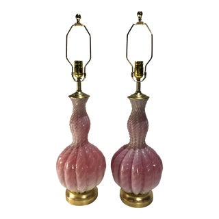 Mid-Century Murano Pink & White Table Lamps - A Pair