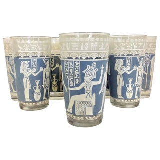 Mid-Century Egyptian Gods Motif French Blue Optic Glasses - Set of 8