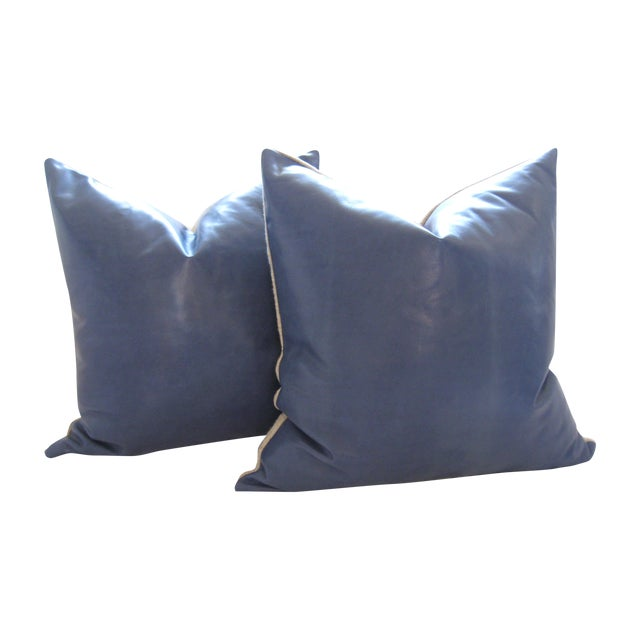Atlantic Blue Leather Pillows - A Pair - Image 1 of 7