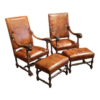 19th Century French Louis XIII Walnut Lions' Heads Armchairs & Ottomans - A Pair