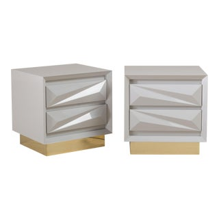 A Standard Pair of Lacquered Asymmetrical Side Cabinets by Talisman Bespoke