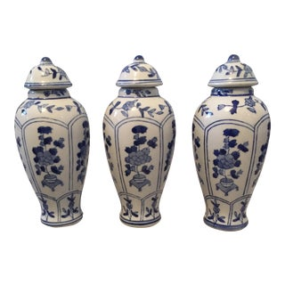 Chinoiserie Blue & White Ceramic Ginger Jars- Set of 3
