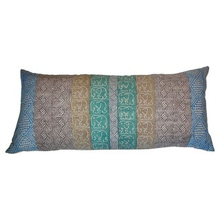 African Block Print Elephant Pillow