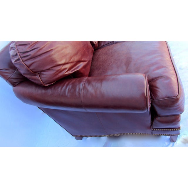 Pearson Chestnut Leather Sofa with Brass Nailhead Trim - Image 3 of 8
