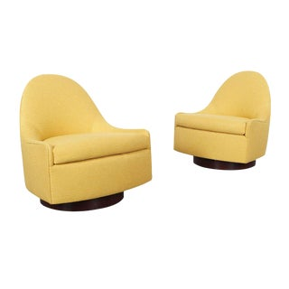 "Vintage ""Teardrop"" Swivel Lounge Chairs by Milo Baughman"