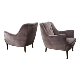 Mid-Century Lilac Gray Velvet Lounge Chairs - A Pair