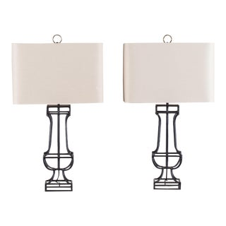 Pair of Open Iron Framework Lamps with Linen Shades, France circa 2000