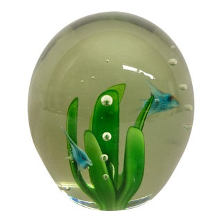 Vintage Blue Sunfish Glass Paperweight