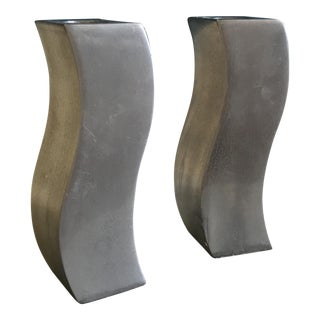 Pair of Steel Mid-Century Modern Candle Holders