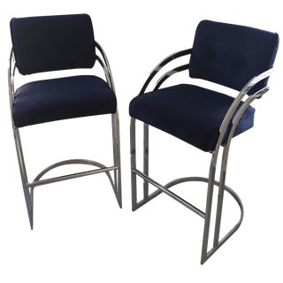 Milo Baughman Chrome Bar Stools in Navy Velvet