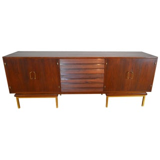 Merton Gershun for American of Martinsville Walnut and Brass Credenza
