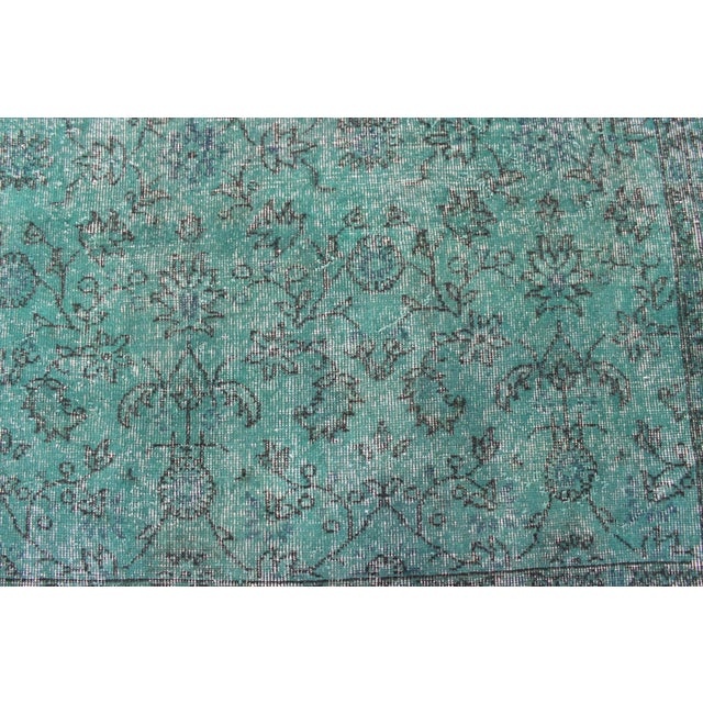 "Vintage Over-Dyed Teal Rug - 7'6"" X 10'9"""