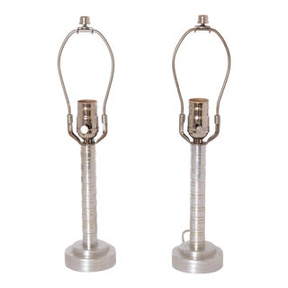 Pair Vintage Skyscraper Machine Age Art Deco Turned - Aluminum Table Lamps