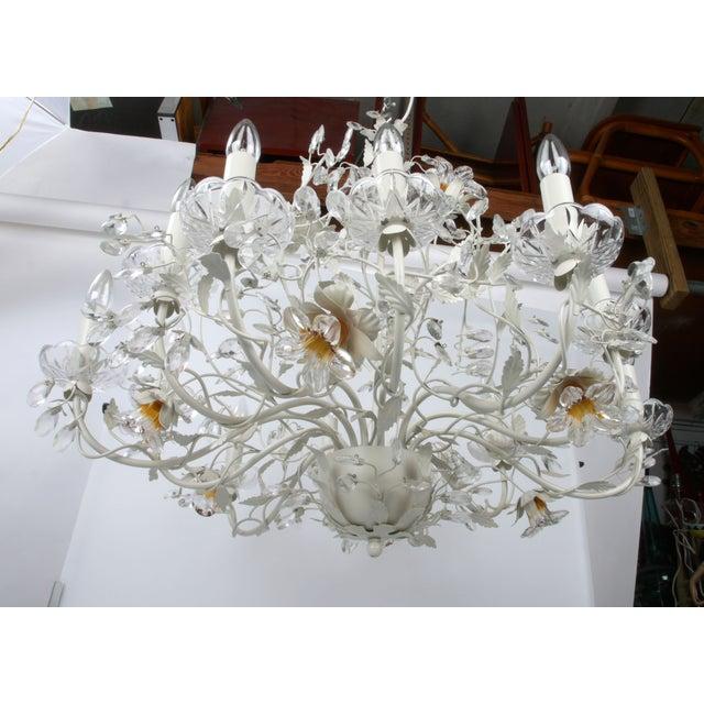 White Metal & Crystal Italian Chandelier - Image 5 of 11