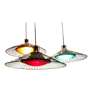 Upcycled Industrial Steampunk Pendant Lights With Wire Shades - Set of 3