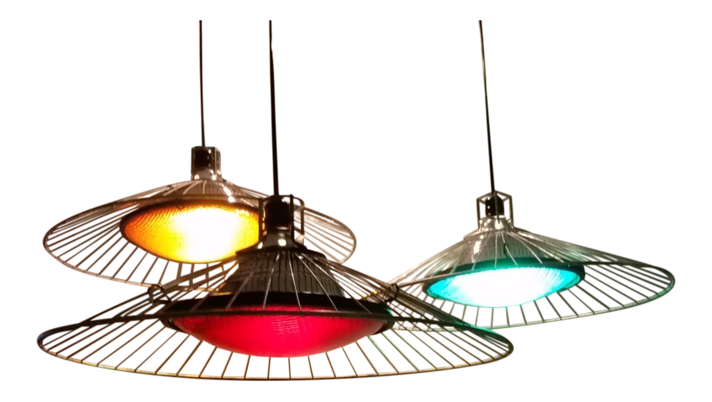 Upcycled Industrial Ste&unk Pendant Lights With Wire Shades - Set of 3  sc 1 st  Chairish & Vintage u0026 Used Industrial Lighting | Chairish azcodes.com