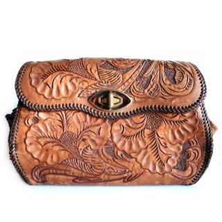 Vintage  Hand Tooled Leather Floral Boho Bag
