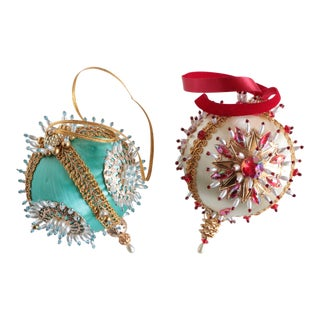 Vintage Beaded Christmas Ornaments - A Pair