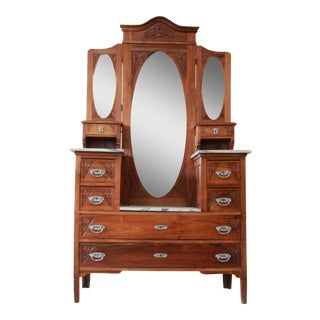 Victorian Carved Walnut & Marble Vanity Dresser