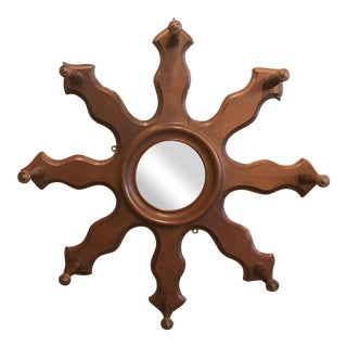 Walnut Sunburst Mirror/Hat Rack.
