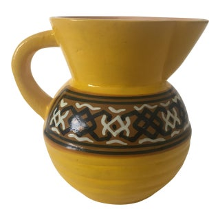 Vintage Kenya Pottery Yellow Pitcher