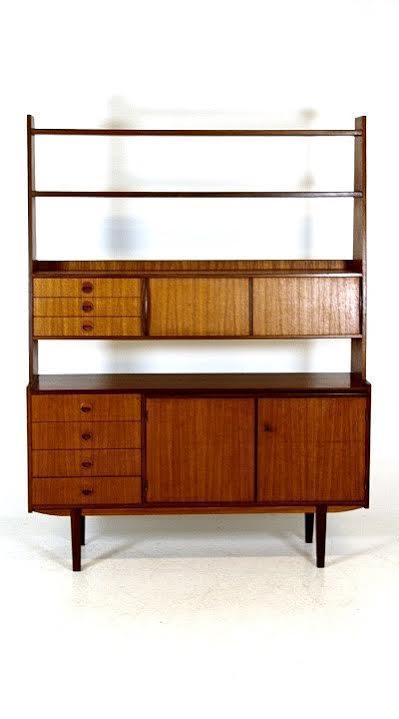 vintage danish mid century modern teak bookshelf secretary credenza desk image 4 of 5