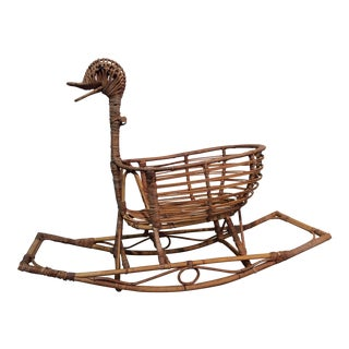 Vintage Bamboo & Wicker Rocking Duck Toy/Bassinet